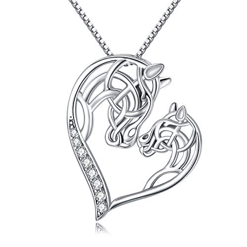 MEDWISE Silver Celtic Knot Horse Head Pendant Necklace Jewelry Gifts Mom Baby Horse Heart Necklace Ponny Animal Necklace Irish Jewelry Gifts for Women Daughter Horse Lover Bithday Christmas Mother's Day