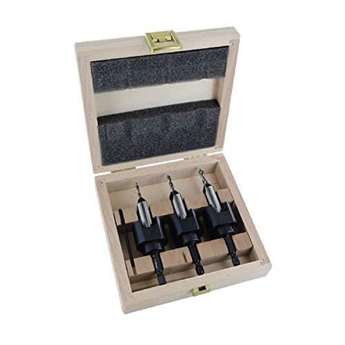 Famag 3577504 - Kit di 4 svasatori, diametro 4, 5, 6 mm e arresto di profondità, in cofanetto di legno