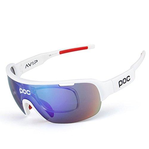 opel-r Modische Outdoor-Bike Ride in Polarisierte Sonnenbrille/TR90Material resistent gegen Impact Sport-Brillen/enthält Fünf Objektive, bright white