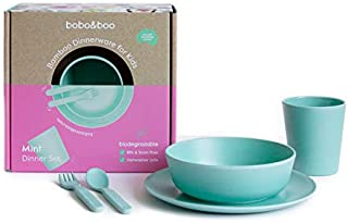 Bobo&Boo Bamboo 5 Piece Children's Dinnerware, Mint Green, Non Toxic & Eco Friendly Kids Mealtime Set for Healthy Infant Feeding, Great Gift for Birthdays, Christmas & Preschool Graduations