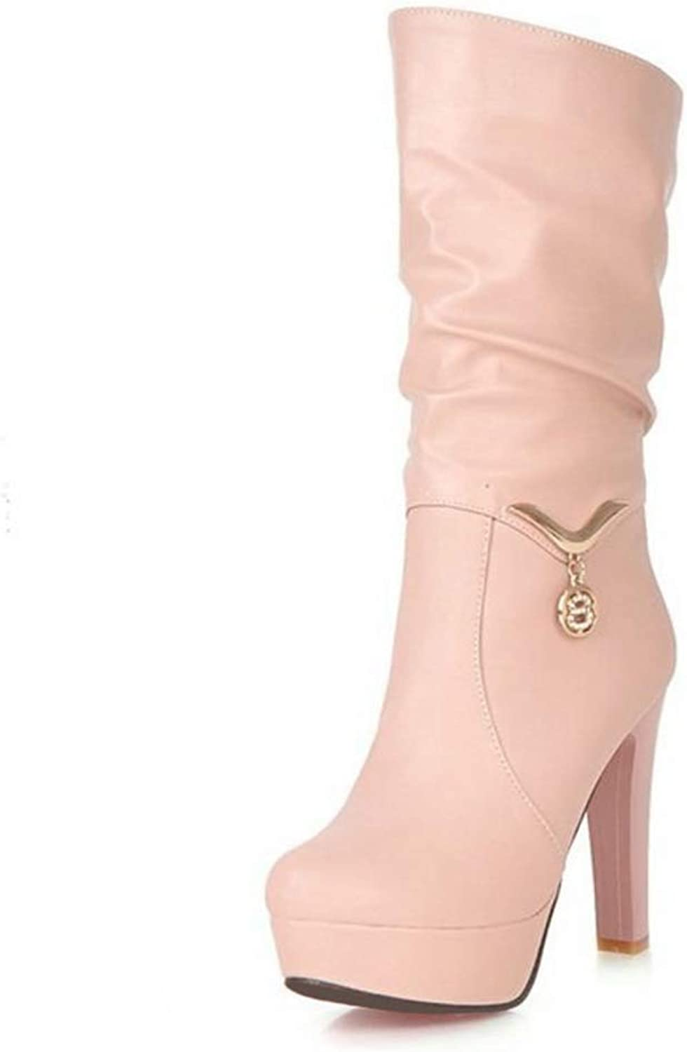 Hoxekle Woman Mid Calf Boots Warm Slip On High Square Heel Round Toe Boots Buckle Thick Platform Lady Prom Elegant shoes