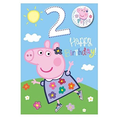 Peppa Pig Girl - Biglietto Di Auguri Per 2 Anni, Con Distintivo