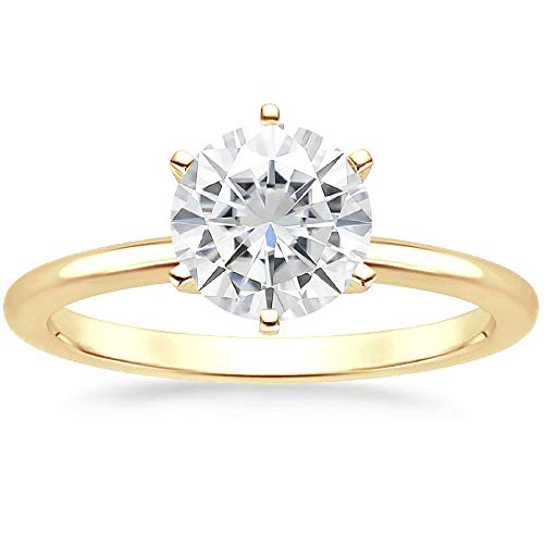 Diamondrensu - Anillo de compromiso con solitario de diamantes de moissanita de 1,26 quilates, plata 925, regalo de aniversario, nupcial