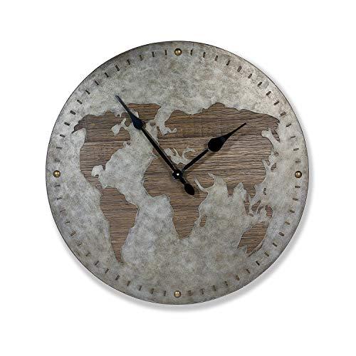 Loberon Uhr Southery, MDF, T/Øca. 6/80 cm, Silber/braun