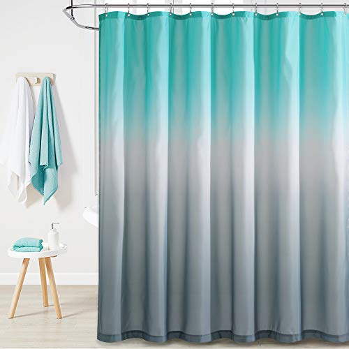 KGORGE Waterproof Shower Curtain Liner - Boho Gradient Color Shower Curtains Water Proof for Bathroom Tub Camper Backdrop Loft, 72 x 72 inch with Hooks, Teal and Grey