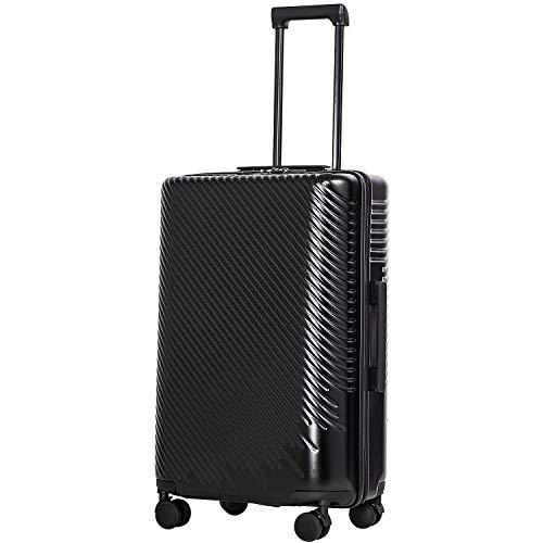 COOLIFE COOLIFE Hartschalen-Koffer Trolley Rollkoffer Reisekoffer mit TSA-Schloss und 4 Rollen (Schwarz, Mittelgroßer Koffer)