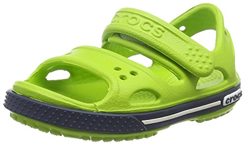 Crocs Crocband II Kids, Sandali con Cinturino alla Caviglia Unisex-Bambini, Verde (Volt Green/Navy), 33-34 EU