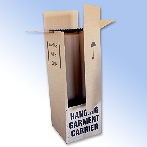 2 Strong Double Wall Wardrobe Removal Boxes with Hanging Rail 20 x 19 x 49' (508 x 482 x 1244mm)