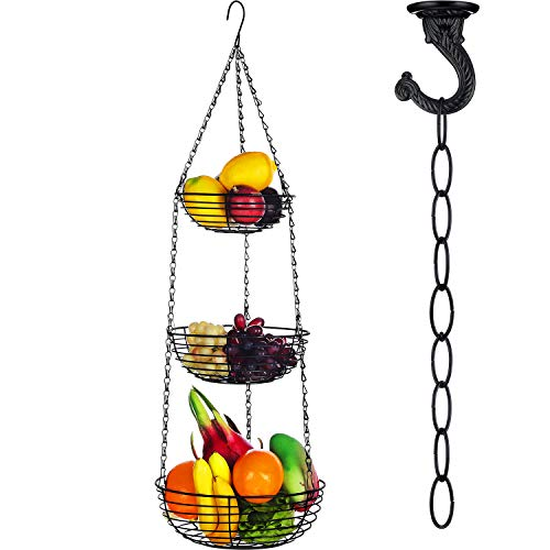 3-Tier Hanging Fruit Basket Vegetable Storage Wire Basket with 16 Inch Fixture Chain and Ceiling Hook for Putting Fruit Vegetables Snacks Household Items Black