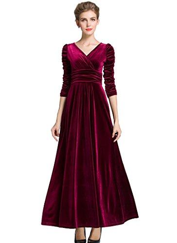 Medeshe Vestito lungo da donna, in velluto, da festa, per Natale, colore verde smeraldo Righe bordeaux. 44-46