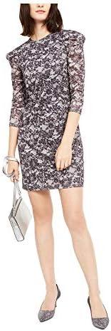 Michael Michael Kors Women s Lace Print Quarter Puff Sleeve Sparkle Sheath Mini Dress Black product image