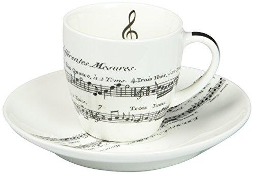 PPD Adagio Espressotassen mit Untertassen, Espresso Tasse, Kaffeetasse, New Bone China, Weiß / Schwarz, 100 ml, 601342