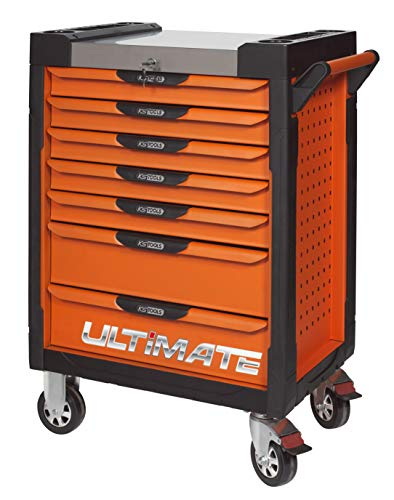 KS Tools 819.0007 Servante Ultimate Orange, 7 tiroirs, Blanc