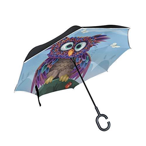 ISAOA Großer umgekehrter Regenschirm, doppelschichtig, Winddicht, UV-Schutz, Regenschirm, für Auto, Regen, Outdoor, C-förmiger Griff, selbststehender Eulen-Vektorschirm
