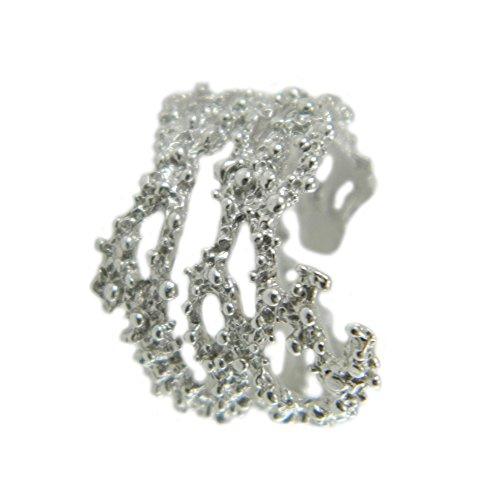 Anello a grani argento forma ramo corallo lavorazione stile sardo modello aperto misura regolabile