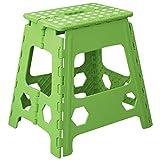 Hogar y Mas Taburete Plegable Alto Verde, Antideslizante, para Camping, Cocina, Baño, etc. Robusto en PVC