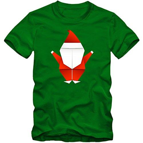 Origami Santa T-Shirt | Kunst des Papier Faltens | Weihnachtsmann | Weihnachten |Nikolaus | Frohes Fest | Herrenshirt, Farbe:Hellgrün (Kelly Green L190);Größe:XL