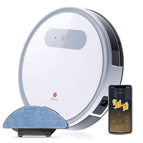 Saugroboter, WI-FI- Anschließung Staubsauger Roboter, 2 in 1 Nass Wischen oder Staubsaugen, 2000Pa Starke Saugkraft, Selbstaufladend, Leise, Elektronische Wasserbehälter-Lefant M501-A
