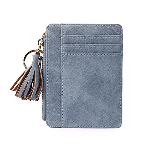 Secuos Matt Leather Mini Tassel Women Card Holder Cute Credit ID Card Holder Zipper Wallet Case Change Coin Purse Keychain Nubuck New Blue
