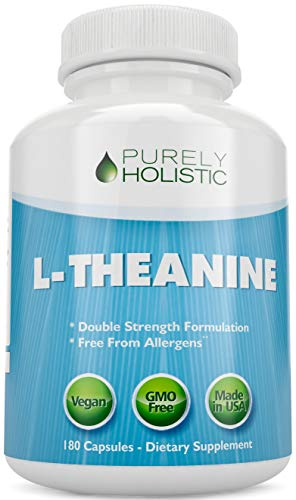 L-Theanine 200mg (Double-Strength) 180 Vegan Capsules a 6 Month Supply, Non GMO & Gluten Free Ltheanine Stress and Anxiety Vitamins
