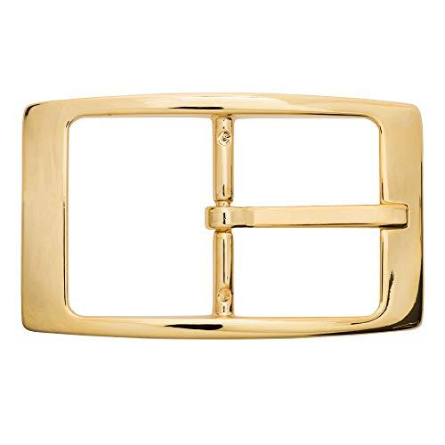 Gürtelschnalle Buckle 40 mm Metall Gold poliert - Buckle Moscow - Dornschliesse für Gürtel mit 4 cm Breite - goldfarben poliert