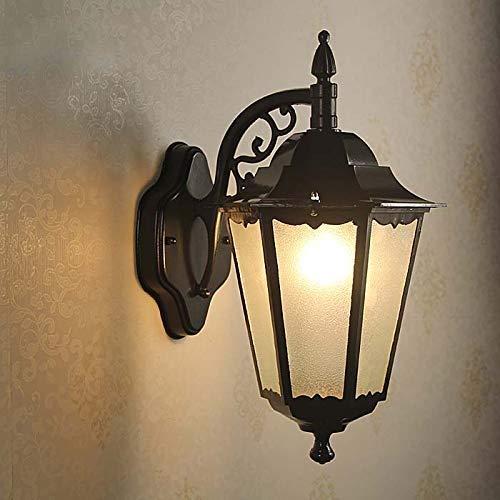 XAJGW La sécurité fixée au mur extérieure actionnée de mur de lanterne de LED allume la lampe hexagonale de jardin de barrière de jardin (Couleur : NOIR)