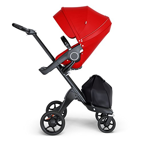 StokkeXplory V6 Black Chassis Stroller with Black Leatherette Handle, Red