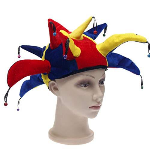 dancepandas Narrenkappe Clown Hofnarr Mütze Hut mit Glocken, Narr Hut Lustige Kostüm Jester Hut Fancy Dress Party Zubehör- perfekt für Fasching,Karneval & Halloween