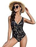 Irevial Traje de Baño de Una Pieza para Mujer Clásico Bañador Push-Up Monokini con Cuello en V Swimsuit Tirantes Ajustables Negro Estampado, L
