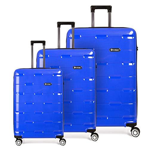 Set valigie da viaggio in Polipropilene - Trolley Rigidi e Leggeri con 4 Ruote - 55x40x22 Bagaglio a Mano/Bagaglio medio/Bagaglio grande da stiva (Blu, Set di 3 (181L))