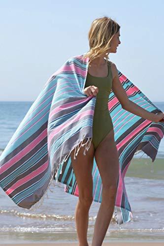 ZusenZomer Fouta XL Casablanca -Toalla Hammam Ligero Toalla de Playa 100% Algodón, Suave - Foutas Playa Comercio Justo (100x190 cm, Azul Claro, Gris, Rosa)