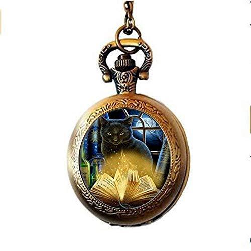 Wicca Taschenuhr mit Halskette aus Glas mit Katzenmotiv