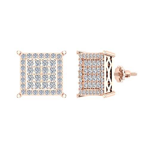 Pendientes de diamante cuadrado de 0,40 ctw en oro rosa de 10 quilates