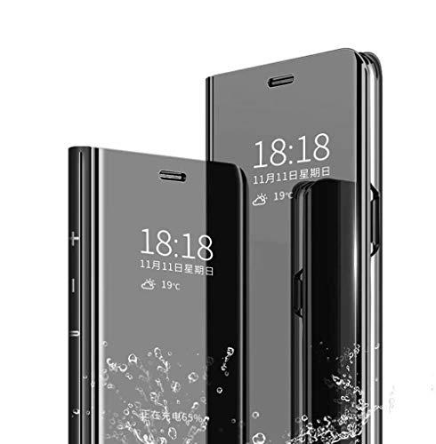 Wuzixi Funda para Xiaomi Mi Note 10 Lite. Inteligente Case, Espejo de la galjanoplastia Ultra Delgado Funda Cuero Flip, Caso Duro con del sueño/Despierte Función.Negro