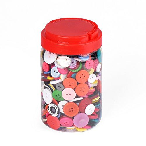 ewtshop® 1000 botones redondos de plástico de colores para manualidades, 2 y 4 agujeros, con una bonita caja de almacenamiento, para costura, manualidades, manualidades con niños y mucho más.