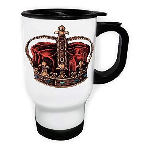Hand Drawn Crown Tasse de voyage thermique blanche 14oz 400ml gg534tw