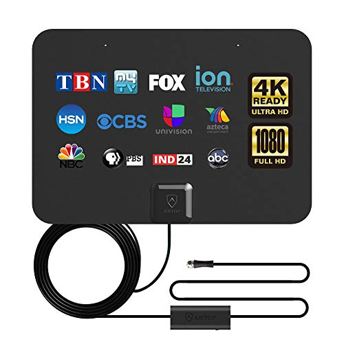 ANTOP TV Antenna,Digital Indoor Antenna HD Antennas with Smartpass Amplifier Signal Booster,200 Miles Range Support 4K 1080p VHF UHF Fire tv Stick,16ft Coax HDTV Cable and USB AC Adapter Included