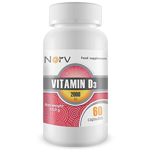 Vitamin D3 2000 IU 60 Softgel Capsules with Sufflower Seed Oils | Best Supplements for a Healthy Immune System Made in The UK