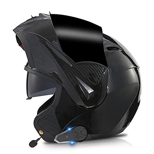 Casco Moto Modular Bluetooth Cascos Flip Up Motocicleta ECER 22-05 Aprobado con Doble Visera Sistema De Comunicación De Intercomunicación Integrado con Radio FM MP3 Incorporada