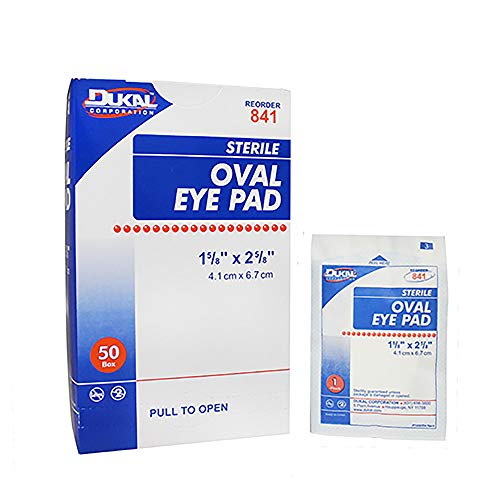 Dukal Oval Eye Pads 1 5/8 x 2 5/8. Pack of 50 Cotton Pads for Eyes. Absorbent Sterile Pads for Eye Protection. Easy Place tab. Individually Wrapped. Sealed Edges.
