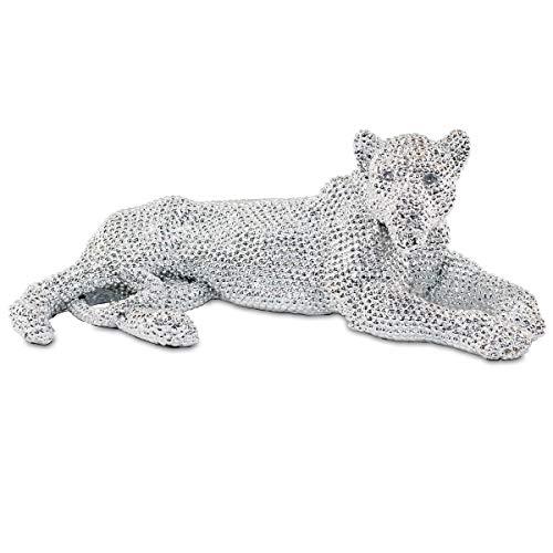Figura Decorativa de Resina Leopardo Plateado Brillante . Adornos y Esculturas. Animales. Decoración Hogar. Regalos Originales. 32 x 16 x 11,50 cm.
