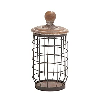Deco 79 55313 Metal Wood Wire Jar, 7  by 13