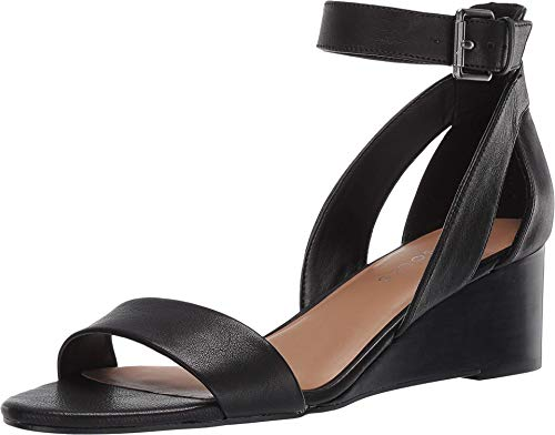 Aerosoles Damen WILLOWBROOK Keilabsatz-Sandale, schwarzes Leder, Medium EU