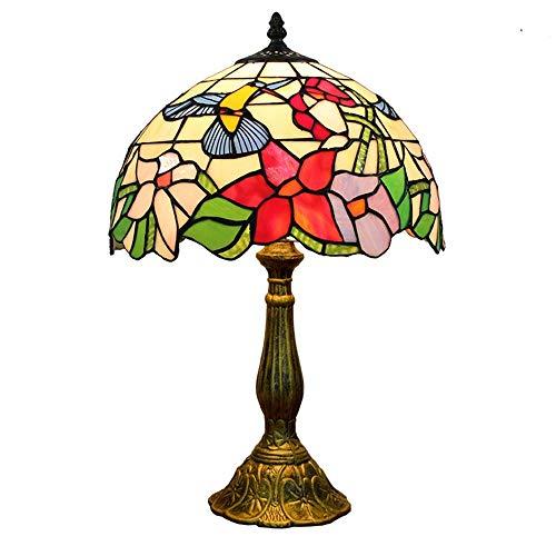 Hobaca 12-Zoll Tiffany Flower Glasmalerei Tischlampe Schlafzimmer Nachttischlampe Art Deco Vintage Wohnzimmer Tischlampe