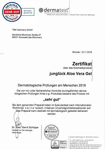 Aloe Vera Gel aus 95% bio Aloe Vera - vegan & in Braunglas - Feuchtigkeitspflege für gesunde & schöne Haut - Junglück natürliche & nachhaltige Kosmetik made in Germany - 250 ml - 5