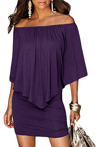 Sidefeel Women Off Shoulder Ruffles Bodycon Midi Dress Large Purple