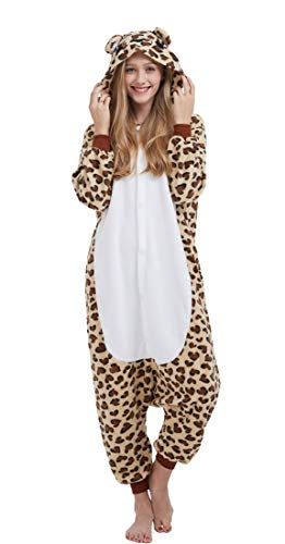 Pijama Onesie Adultos Mujer Cosplay Animal Disfraces Sleepwear Leopardo M