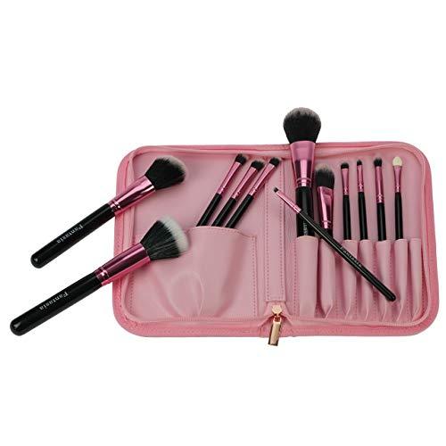 Fantasia Make Up Pinsel Set 12-teilig, Synthetik Haar, Professionelles Pinselset Makeup, hochwertiges Schminkpinsel Set – Rosa in Reißverschluss-Tasche