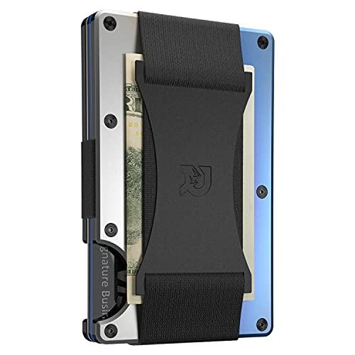 Cartera Tarjetero Metálica Titanio Uso Militar, RFID Bloqueo Garantizado Clonación Chips Digitales, Correa Sujeción Billetes Integrada (Color Titanium Burnt)