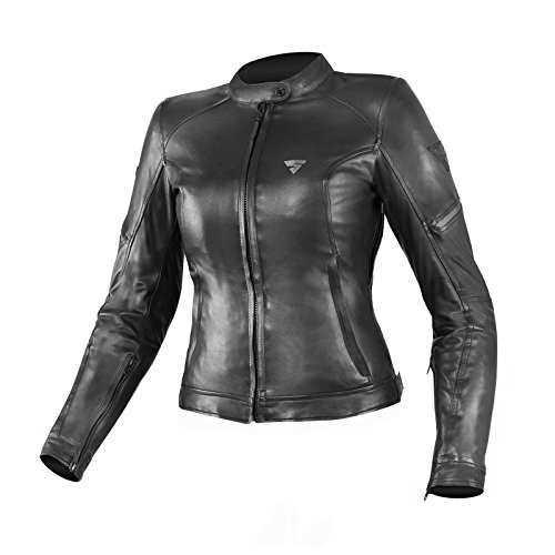 SHIMA MONACO - Giacca da motociclista in pelle da donna, protezione per la schiena, vintage, estiva, con protezioni (XS-XL), nero, taglia XL